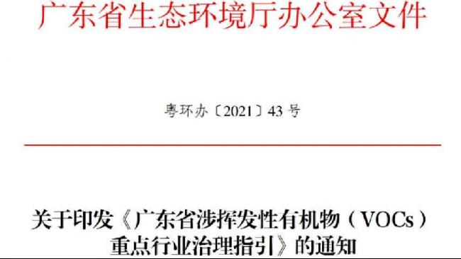 省厅发文:12个涉VOCs重点行业治理指引,控制要求和文件依据有哪些